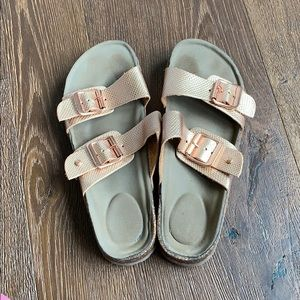 Steve Madden Faux Birkenstock's in Rose Gold